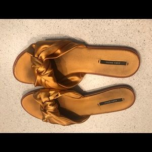 Zara Gold Satin Slides